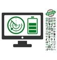 Radar Battery Control Monitor Icon With Bonus vector image