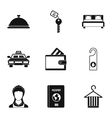 Hostel accommodation icons set simple style vector image