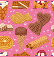 different wafer cookies waffle cakes and chocolate vector image
