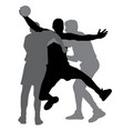 two handball players blocking opponent player vector image vector image