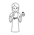 Virgin mary with sacred heart of jesus holy family vector image