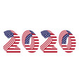 2020 numbers 3d american flag new year vector image