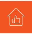 Thumb up in house line icon vector image vector image