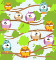 Background with a cute owls sitting on the branch vector image