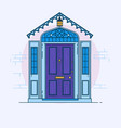 blue front door on the brick wall with lantern vector image