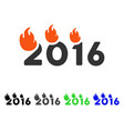 flamed 2016 text flat icon vector image