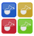 four square color icons flask with a drop vector image