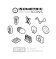 Isometric outline icons set 34 vector image