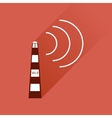 Flat icon with long shadow Wi fi tower vector image