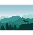 mountains deer vector image