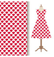 dress fabric with red hearts pattern vector image