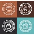 coffee mug on round emblem vector image vector image