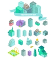 Set of the isometric city buildings shops park vector image