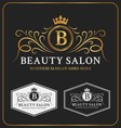 Beauty Salon Heraldic Crest Logo Template Design vector image