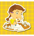 Little girl writing on paper vector image