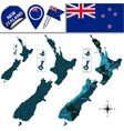 New Zealand map with named divisions vector image