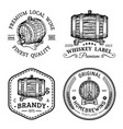 alcohol logoswooden barrels set with drinks signs vector image