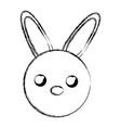 sketch draw rabbit face cartoon vector image