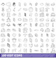 100 visit icons set outline style vector image