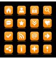 Orange satin icon web button with white basic sign vector image