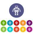 artificial intelligence robot icons set flat vector image