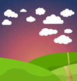 Cartoon Retro Night Sky With Field Clouds and vector image