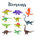 colorful prehistoric dinosaurs vector image