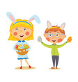 easter kids in bunny ears with basket full of eggs vector image