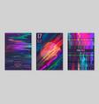 glitch futuristic posters covers set design vector image