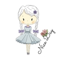 Little Girl Doll with Violet Bows fairy vector image