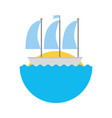 sailboat marine isolated icon vector image