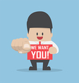 Businessman pointing finger towards you with word vector image