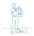 Chained taxpayer with bags full of taxes vector image