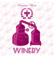 background with wreath winery for wine vector image
