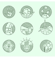 Ecology organic signs eco and bio elements in hand vector image