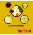 Thai cuisine dishes and sauces vector image