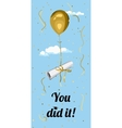 Student graduation greeting card You did it vector image