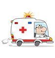 Male Doctor Driving Ambulance vector image vector image