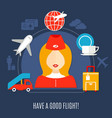 airlines flight service flat poster vector image