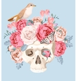 Human skull with roses vector image