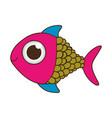 silhouette color fish with big eye vector image