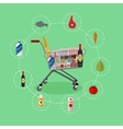 Supermarket shopping trolley cart with grocery vector image