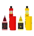 Bright vape devices set Vaping juice in bottle vector image