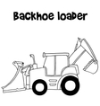 Backhoe loader cartoon vector image