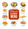 french restaurant menu that includes only vector image