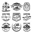 set of canoeing and kayaking tours emblems vector image