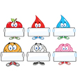 Cartoon characters holding sign vector image vector image