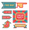 circus vintage signboard labels banner vector image
