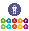 abstract robot icons set flat vector image