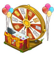 festive wheel of fortune with colorful balloons vector image